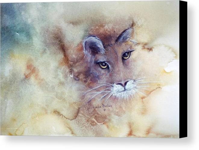 Cougar Face Canvas Print featuring the painting Face With In by Lynne Parker