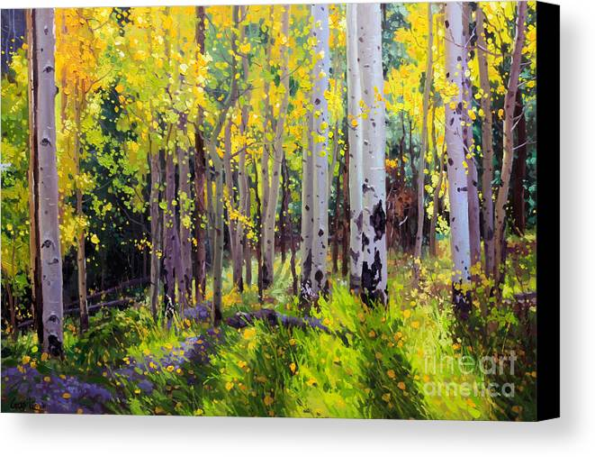 Aspen Tree Canvas Print featuring the painting Fall Aspen Forest by Gary Kim