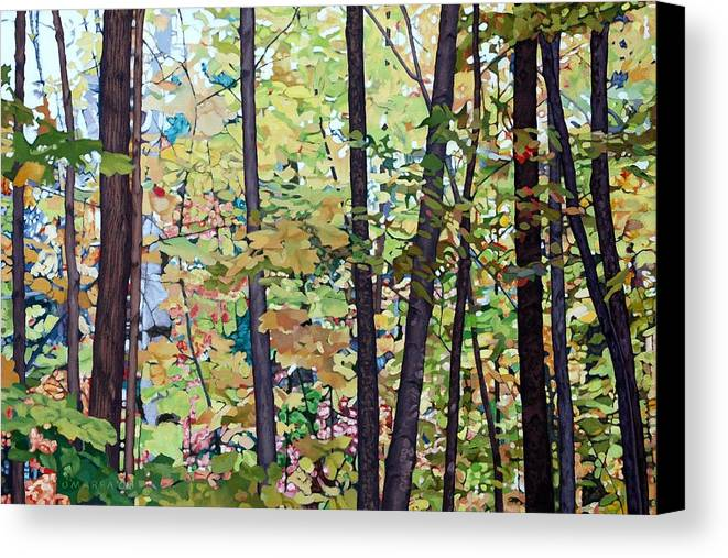 Landscape Canvas Print featuring the painting Fall Colour Medley by Allan OMarra
