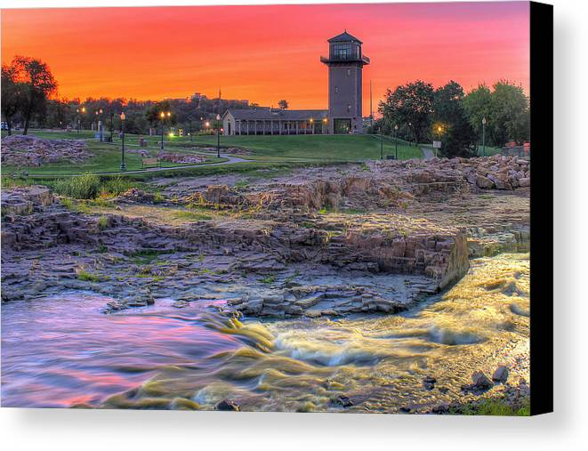 Sioux Falls Canvas Print featuring the photograph Falls Park Sunset by Frank Thuringer