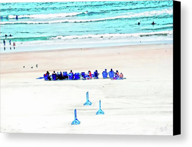 Beach Canvas Print featuring the photograph Family Day At Beach by Gina O'Brien
