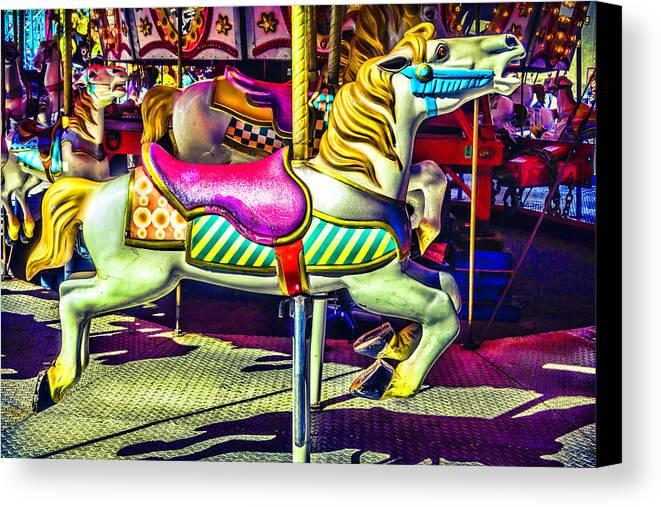 Magical Carousels Canvas Print featuring the photograph Fantasy Fair Horse Ride by Garry Gay