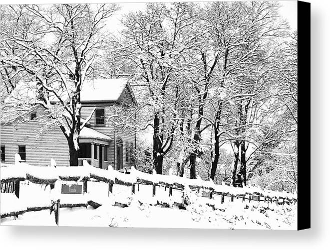 Blizzard Canvas Print featuring the photograph Farmhouse In Winter by Roger Soule
