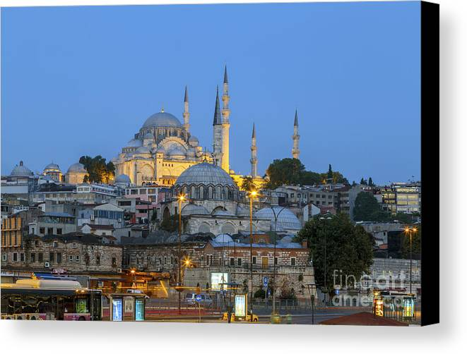 Rustem Pasha Mosque Canvas Print featuring the photograph Fatih District In The Morning,istanbul. by Mohamed Elkhamisy