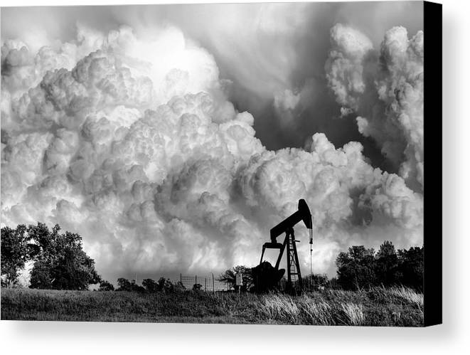 Oil Rig Canvas Print featuring the photograph Field Of Nightmares by Karen M Scovill