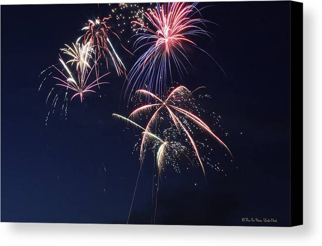 Fireworks Canvas Print featuring the photograph Fireworks by Linda Ebarb