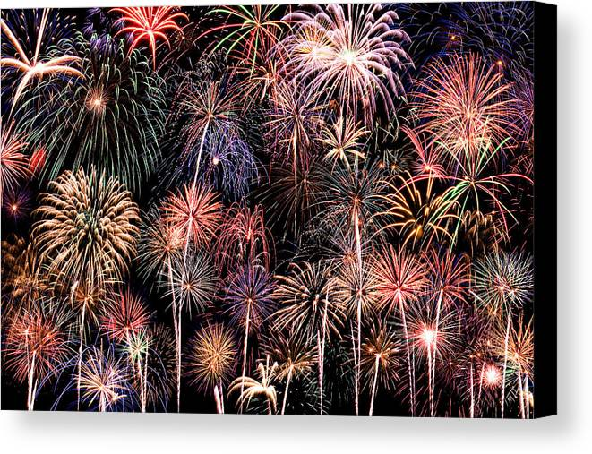 4th Canvas Print featuring the photograph Fireworks Spectacular II by Ricky Barnard
