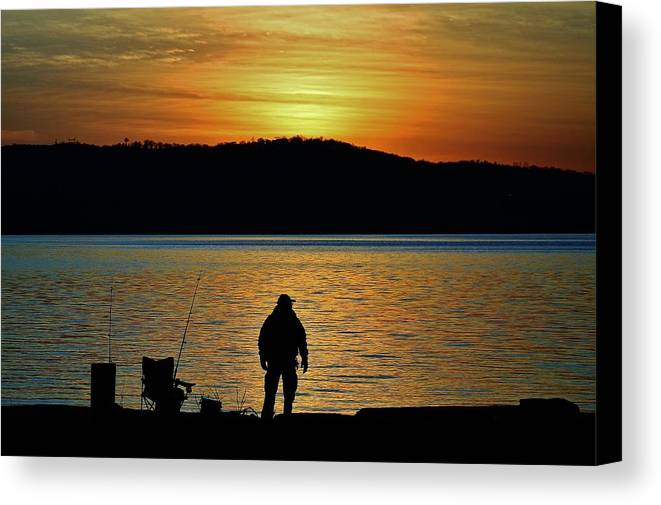 Hudson Valley Landscapes Canvas Print featuring the photograph Fishing Along The Hudson by Thomas McGuire