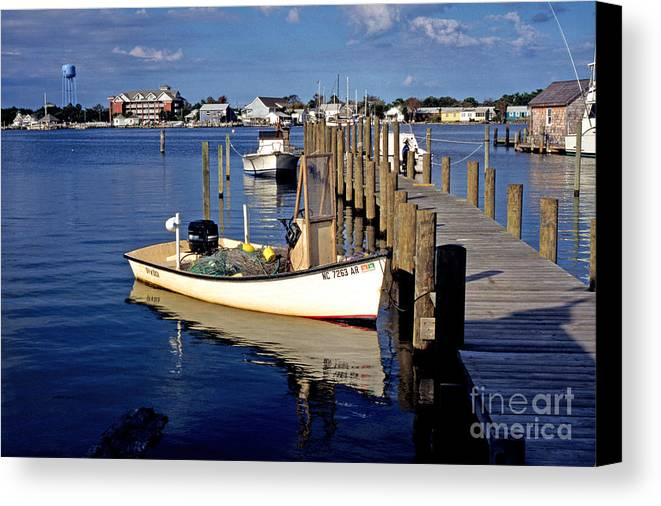 Usa Canvas Print featuring the photograph Fishing Boats At Dock Ocracoke Village by Thomas R Fletcher
