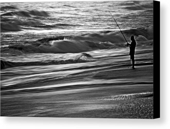 Surf Canvas Print featuring the photograph Fishing The Surf by William Jones