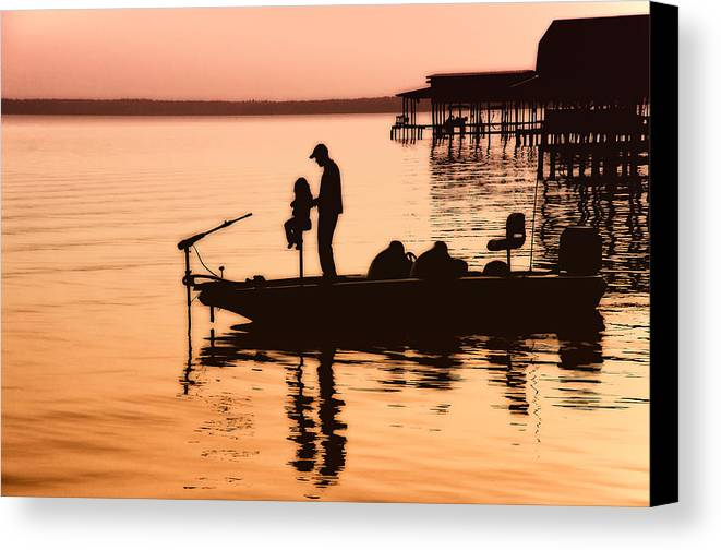 Fishing Canvas Print featuring the photograph Fishing With Daddy by Bonnie Barry