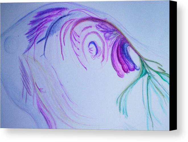 Abstract Painting Canvas Print featuring the painting Fishy by Suzanne Udell Levinger