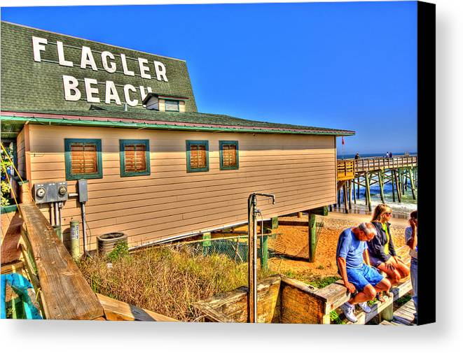 Flagler Beach Canvas Print featuring the photograph Flagler Pier Postcard by Andrew Armstrong - Mad Lab Images