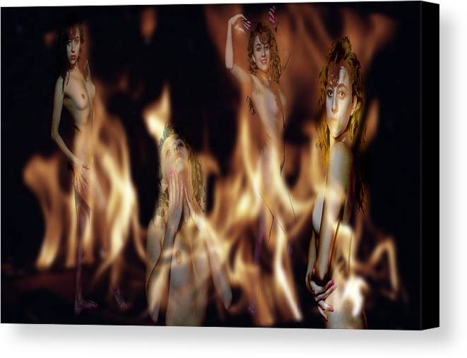 Multiple Exposure Of Model And Flames Canvas Print featuring the photograph Flame Nymphs by Richard Henne
