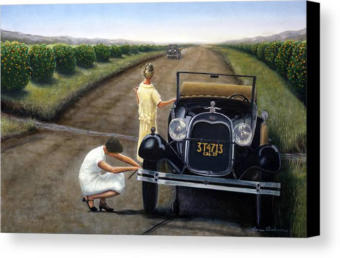 Orange Canvas Print featuring the painting Flat Tire by Lance Anderson