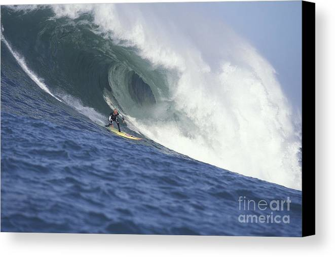 Mavericks Canvas Print featuring the photograph Flea On A Mavericks Giant by Stan and Anne Foster