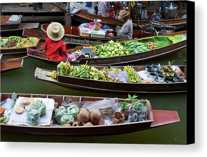 Asian Canvas Print featuring the photograph Floating Market by Jirawat Cheepsumol