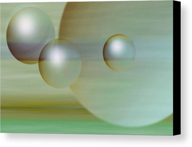 Planet Canvas Print featuring the digital art Floating Spheres by Gae Helton