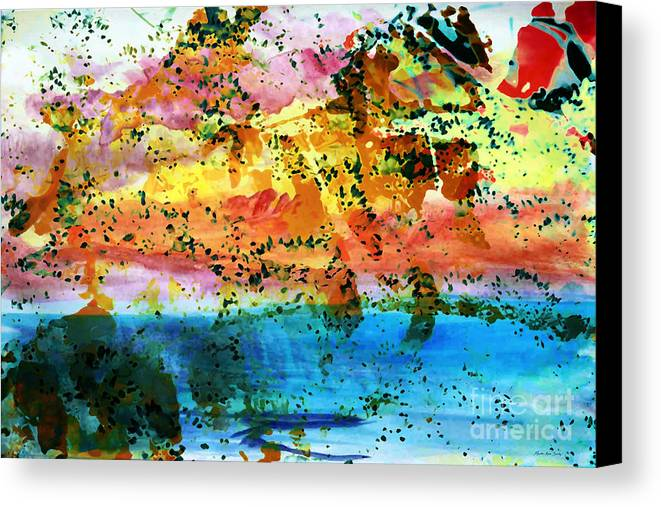 Abstract Canvas Print featuring the painting Rustic Landscape Abstract D2131716 by Mas Art Studio