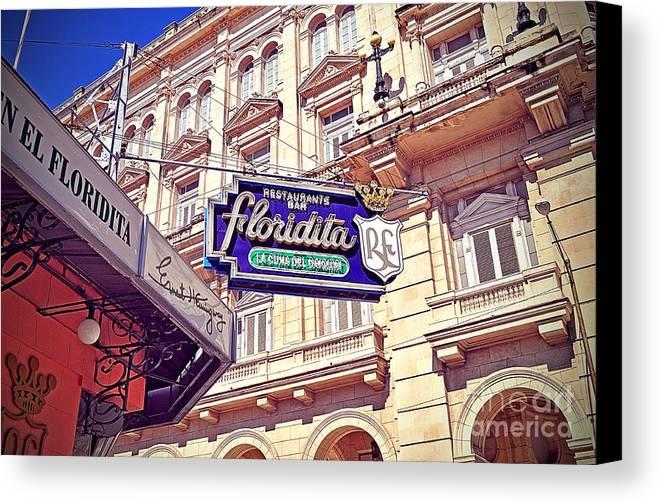 Havana Canvas Print featuring the photograph Floridita - Havana Cuba by Chris Andruskiewicz