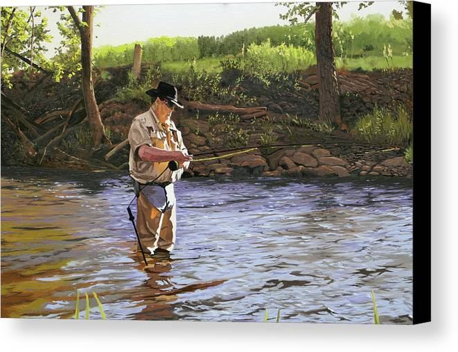 Fisherman Canvas Print featuring the painting Fly Fisherman by Kenneth Young