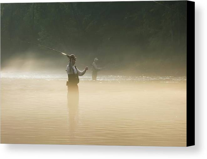 Man Canvas Print featuring the photograph Fly Fishing by Betty LaRue