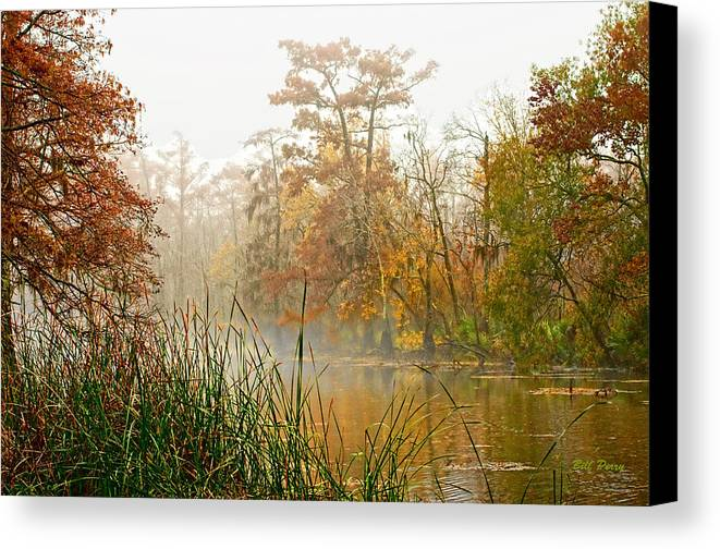 Landscape Canvas Print featuring the photograph Fog On The Bayou by Bill Perry