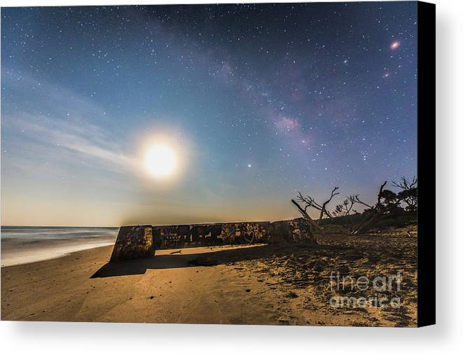Milky Way Canvas Print featuring the photograph Folly Beach Milky Way by Robert Loe