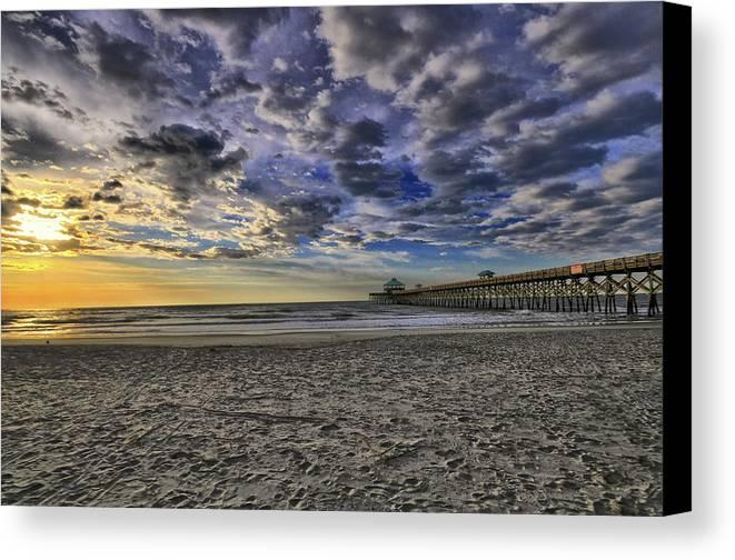 Hdr Folly Beach James Island Shrimp Boat Pier Canvas Print featuring the photograph Folly Beach Sunrise by Calvin Smith