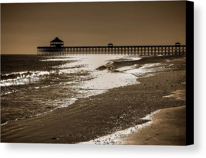 Folly Canvas Print featuring the photograph Folly Pier Sunset by Drew Castelhano