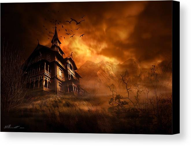 Abandoned Canvas Print featuring the digital art Forbidden Mansion by Svetlana Sewell