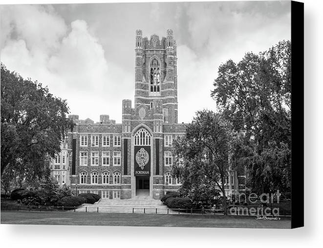 Fordham Canvas Print featuring the photograph Fordham University Keating Hall by University Icons