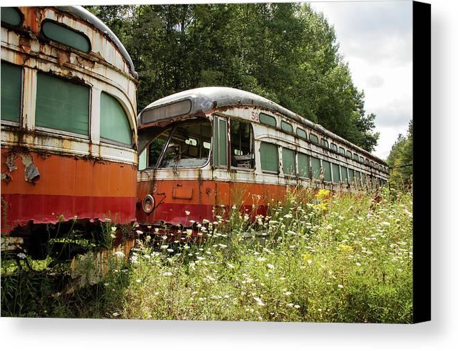 Marzena Grabczynska Lorenc Canvas Print featuring the photograph Forgotten Trains by Marzena Grabczynska Lorenc