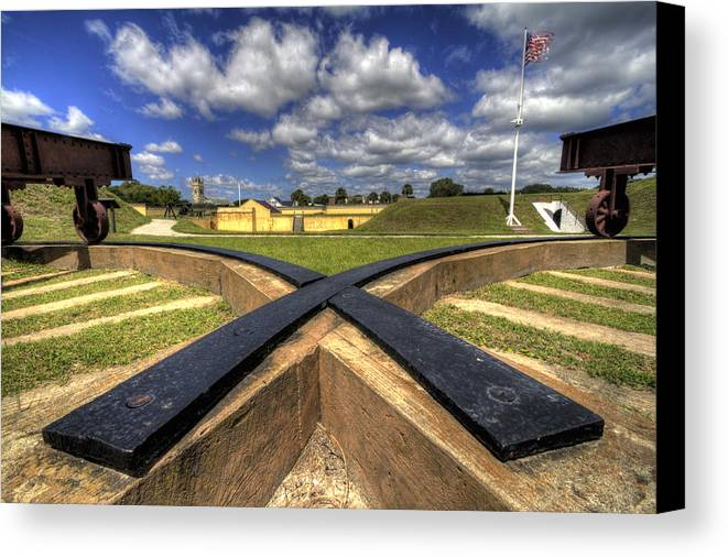 Fort Canvas Print featuring the photograph Fort Moultrie Cannon Tracks by Dustin K Ryan