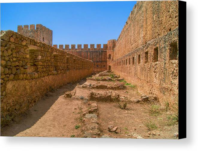 Frangokastello Canvas Print featuring the photograph Fortress In Frangokastello by Sun Travels