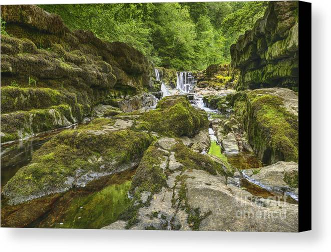 Waterfall Canvas Print featuring the photograph Four Falls Walk Waterfall 3 by Steev Stamford