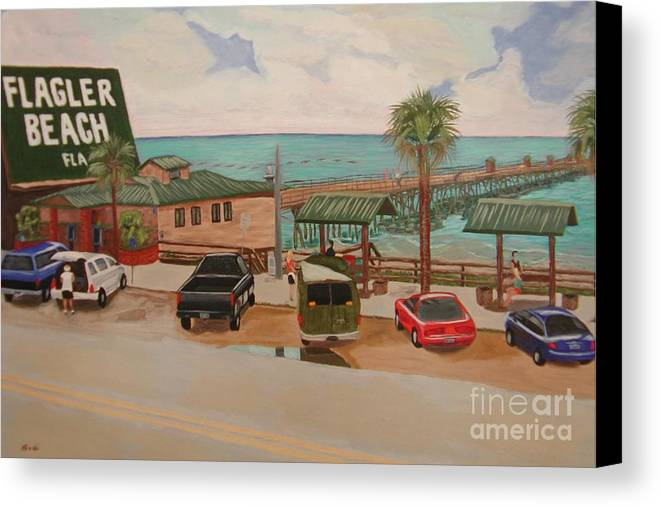 Landscape Canvas Print featuring the painting Four Vignettes At The Pier by Sodi Griffin
