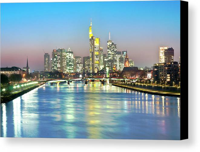 Horizontal Canvas Print featuring the photograph Frankfurt Night Skyline by Ixefra