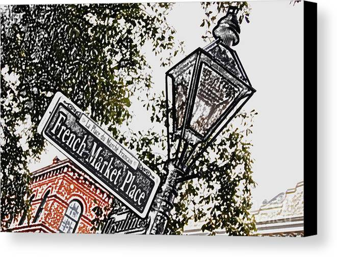 Travelpixpro New Orleans Canvas Print featuring the digital art French Quarter French Market Street Sign New Orleans Colored Pencil Digital Art by Shawn O'Brien