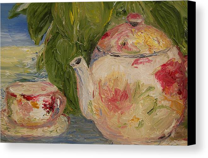 Konkol Canvas Print featuring the painting French Teapot by Lisa Konkol
