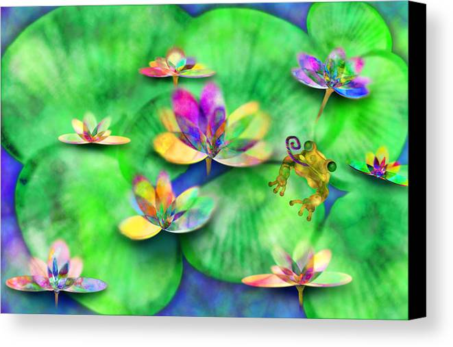 Frog Canvas Print featuring the digital art Froggy by Gae Helton