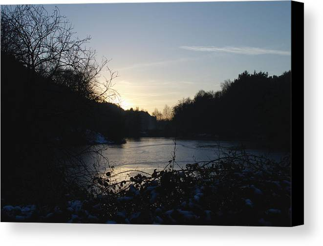 Frozen Canvas Print featuring the photograph Frozen Pool At Sunset by Adrian Wale
