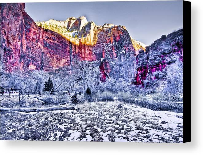 Landscape Canvas Print featuring the digital art Frozen Zion by Ches Black