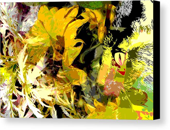 Abstract Canvas Print featuring the mixed media Garden Variety Cat by Ruth Palmer