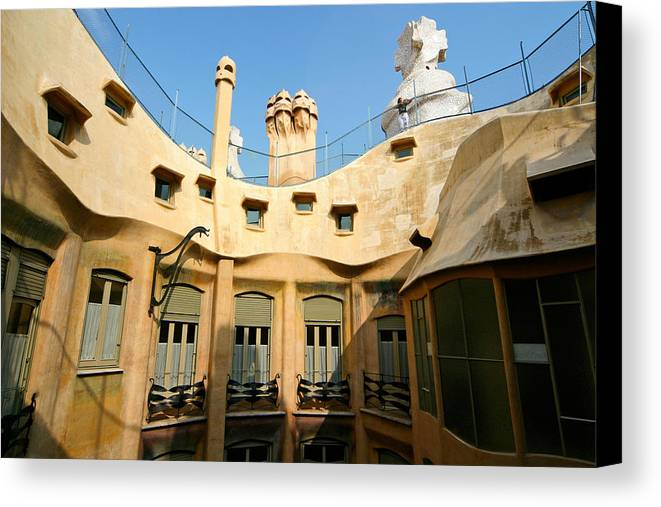 Pedrera Canvas Print featuring the photograph Gaudi La Pedrera Barcelona Spain by Mathew Lodge