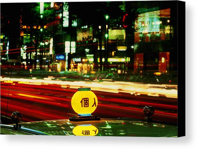 Travel Canvas Print featuring the photograph Ginza Tokyo Night by Brad Rickerby