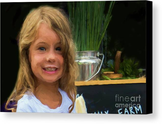 Girl Canvas Print featuring the photograph Girl At Market M1 10479vc by Doug Berry
