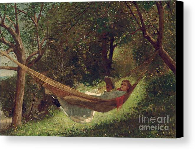 Girl In The Hammock Canvas Print featuring the painting Girl In The Hammock by Winslow Homer