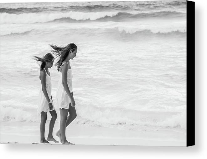 Girls Canvas Print featuring the photograph Girls On Beach by Lisa Lemmons-Powers