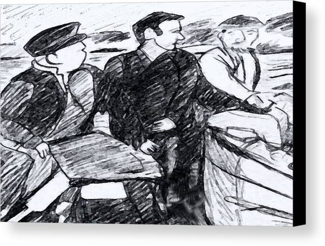 Saiors Canvas Print featuring the drawing Going Fishing by Monica Engeler